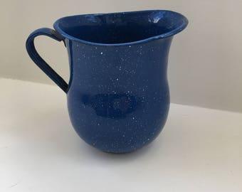 Vintage Cinsa Blue Enamel pitcher- small