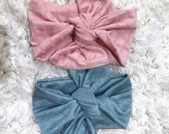 Baby Headbands, Baby Headwraps,  Baby Photo Props, Baby Turban, Top Knotted Headband