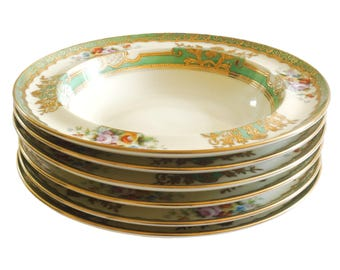 Early 1908 Noritake cereal bowls - set of 6 breakfast bowls - vintage hand-painted Japanese bowls