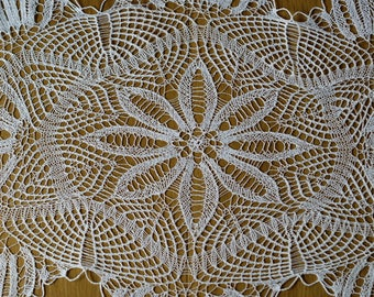 """130cm x 87cm (51"""" x 34"""")Hand knitted/crochet white, large doily/runner crocheted table topper, knitted tablecloth, cotton doily"""