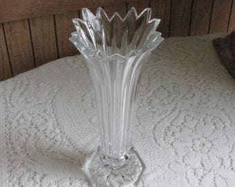 Crystal Vase Footed Flared Vintage Florist Ware Flower and Bouquets