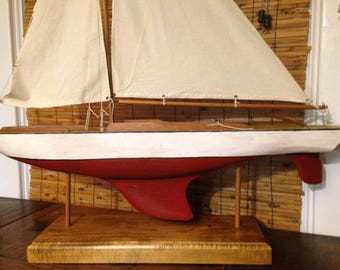 Large Hand Crafted Sail Boat Model - Wooden Hull - Canvas Sails