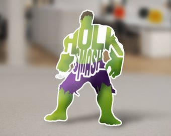 "The Incredible Hulk Sticker Typography Design from the Marvel Universe with his phrase, ""Hulk Smash"" Green and Purple Hulk Laptop Sricker"