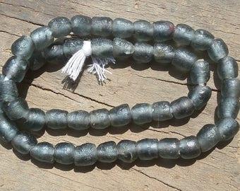 "African recycled glass beads, 8/9 mm.diam., 1 strand  16"", 49/50 beads, dark grey"