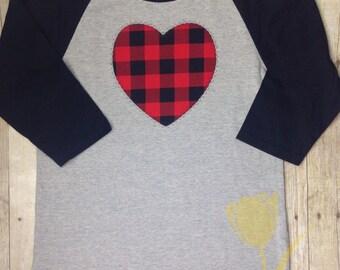Valentine Heart Buffalo Plaid 3/4 Sleeve  Raglan Youth T-shirt