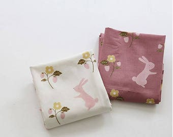 Lovely Rabbit Pattern Digital Printing Cotton Fabric by Yard - 2 Colors Selection