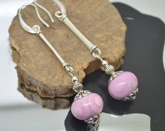 Earrings hooks pink Lampwork Glass Beads 925 sterling silver