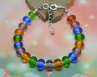 Amethyst blue green amber Lampwork Glass Beads Bracelet
