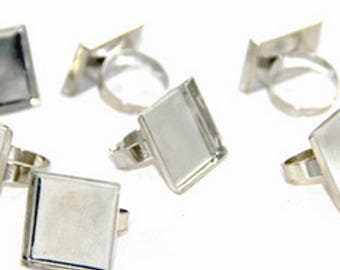 For cabochon or other object 25x25mm square rings