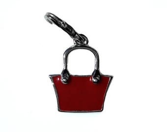 Charm handbag red intense steel 2.5 cm with attachment