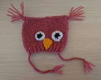 Pink OWL hat for Pullip / SD BJD