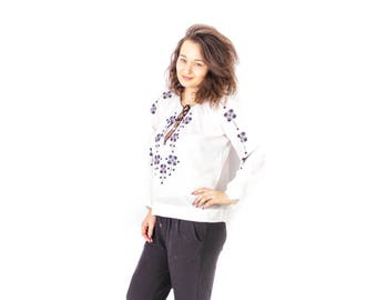 Embroidered blouse, Peasant shirt, Long sleeve white top, Boho top, Embroidered shirt, White embroidered top, Black ornaments / Medium