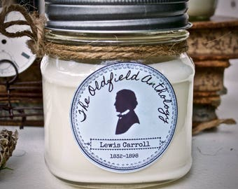 Lewis Carroll Candle | Soy, Mason Jar, Hand Poured, Literary Inspired | Oldfield Anthology
