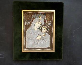 Antique Italian Virgin Mary and Child Jesus Shadow Box Diorama.