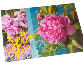 Set of laminated table Peony, roses and yellow graphics