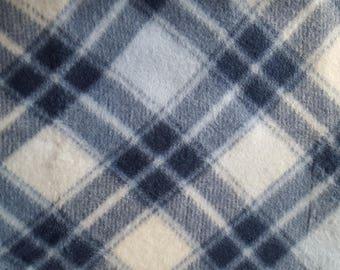 Plaid Blue Fleece Fabric (1 yard 14 inches)