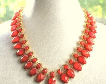 Red bib necklace and earrings set, statement teardrops necklace, bib necklace, Coral red necklace, gift for her.