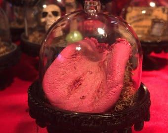 Severed Human Tongue OOAK Halloween Ornament Prop Creepy Bloody