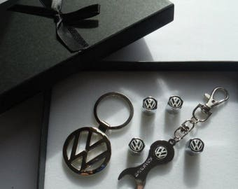 VW Volkswagen Christmas Gift Box Set Keychain Tire Cap