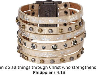 Good Works Make a Difference Radiance Come Together Scripture Cuff Bracelet - Brass Philippians 4:13