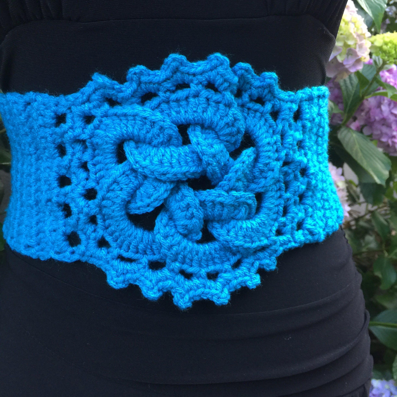 Crochet turquoise belt celtic knot corset belt unique
