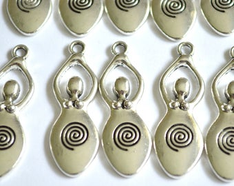 10 x Goddess & Spiral Charms ~ Antique Silver ~ Lead and Nickel Free