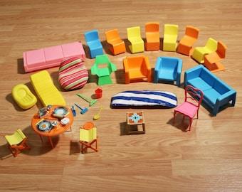 Lot of 1970s Barbie Dream House Furniture & Accessories, Mod