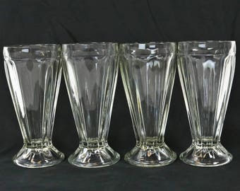 Vintage Ice Cream Sundae Float Soda Fountain Glasses Heavy & Footed- Set of 4