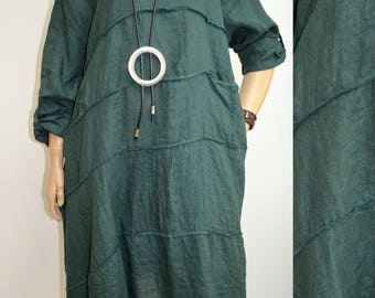 44 46 48 50 / 16 18 20 22 Italian Linen Lagenlook Tunic Dress Pockets Plus Size Quirky