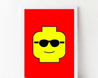 Red Custom Lego Wall Art, Lego Prints 1, Customized Lego Head Printables, Minimal Lego Faces, Lego Nursery Art, digital print illustration