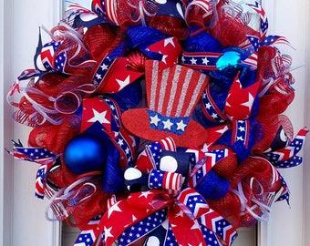 Uncle Sam Patriotic Wreath,  Front Door Wreath, Red White Blue July 4th Wreath, Deco Mesh Wreath, All Season Patriotic Door Wreath