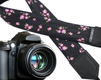 Flowers Camera strap. Black and pink camera strap. Polka dot camera strap.  DSLR /SLR Camera Strap. Camera accessories.