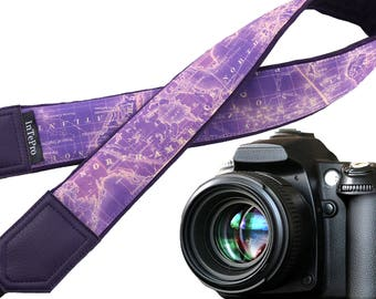 Camera strap Map. World map neck camera straps. Purple DSLR and SLR camera strap. Camera accessories. Great gifts by InTePro