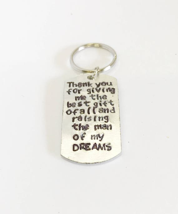 Thank You For Raising The Man of My Dreams Personalized Keychain, Father In Law Wedding Gift for Him, Mother In Law Wedding Gift For Her