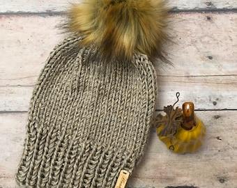 Knit beanie, knit hat, knit beanie with faux fur