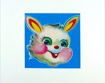Limited Edition 'Big-Eyed' Bunny Print With Mount; Original, Vintage-Themed, Unframed