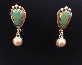 Sterling Silver Earrings with Kingman Turquoise and Pearls
