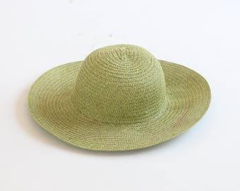 green straw hat vintage 1990s