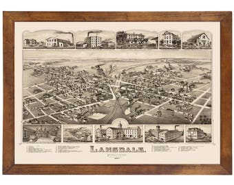Lansdale, PA 1885 Bird's Eye View; 24x36 Print from a Vintage Lithograph
