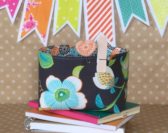 Mini Storage Tote. Planner Storage Bin. Planner Organization. Bullet Journal Supply Tote. Office Organizer. Gift for Mom Floral Office Decor