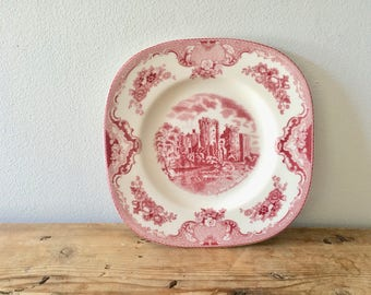 Old Britain Castles Pink Square Salad / Starter / Dessert  Plate by Johnson Brothers, Ragland Castle, Made in England Historical Collectible