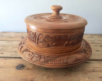 Wooden Cake Stand / Cake Platter & Lid, Ornate Hand carved, Birthday / Wedding Gift, Wedding Cake Stand, Farmhouse Decor, Free Shipping