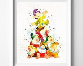 Seven Dwarfs, Seven Dwarfs Print, Snow White Art, Snow White Print, Disney Print, Disney Princess, Watercolor Painting, Valentines Day Gift