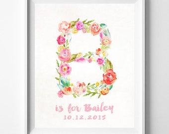 Nursery Name, Baby Art Print, Baby Artwork, Children Room, Monogram Alphabet, Brittany ,Barbara, Beth, Bailey, Brooke, Halloween