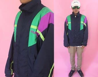 Fila vintage windbreaker size 40 shell jacket blue jacket 1990s 1980s vintage jacket fila jacket