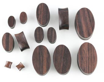 Oval Wooden Plugs for Stretched Ears - Hand Carved Shaped Plugs - PA55