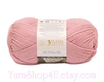 SOFT ROSE. All Things You Essential Acrylic Yarn. Big 4.5oz. A light, dusty pink color. Worsted . Same as Michael's Impeccable Soft Rose.
