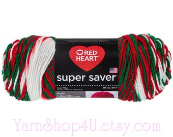 MISTLETOE, Red Heart Super Saver, Red White Green 100% Acrylic yarn 5oz 236yd. Medium 4 Worsted, Christmas Yarn, Holiday Yarn, Color Pooling