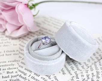 Ring Box Silver Circle Handmade  Velvet for Weddings, Proposals, Engagements, Photos and Storage