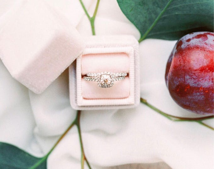 Featured listing image: Velvet Ring Box in Blush For Heirloom Rings, Wedding Presentation, and Proposal